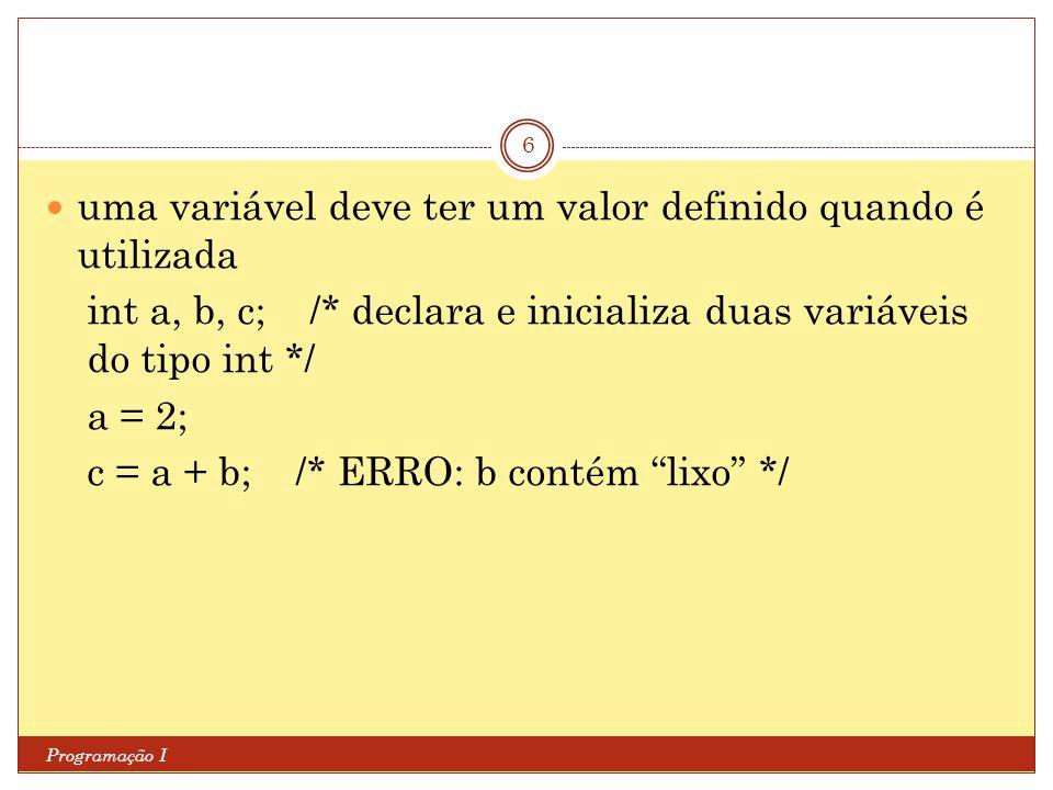 uma variável deve ter um valor definido quando é utilizada