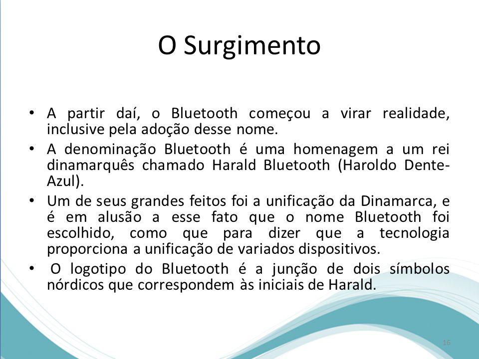 O Surgimento A partir daí, o Bluetooth começou a virar realidade, inclusive pela adoção desse nome.