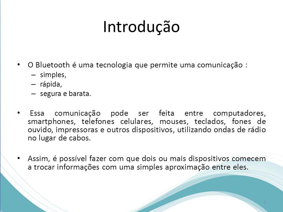 Introdução O Bluetooth é uma tecnologia que permite uma comunicação :