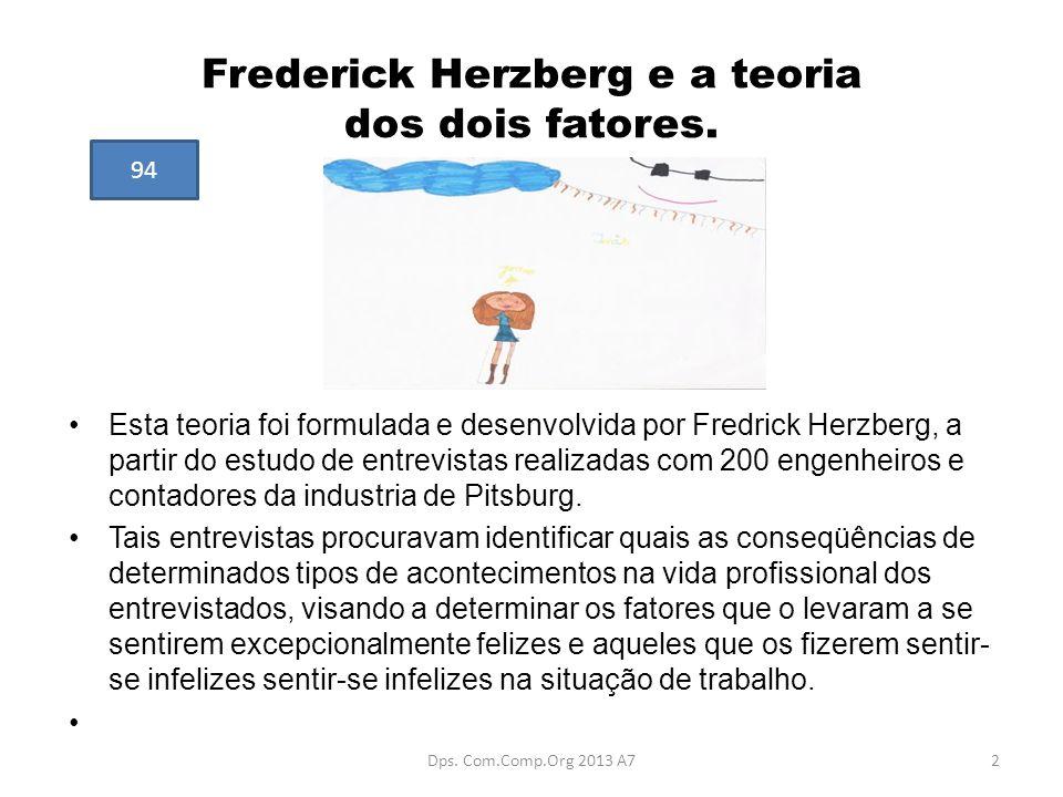 Frederick Herzberg e a teoria dos dois fatores.