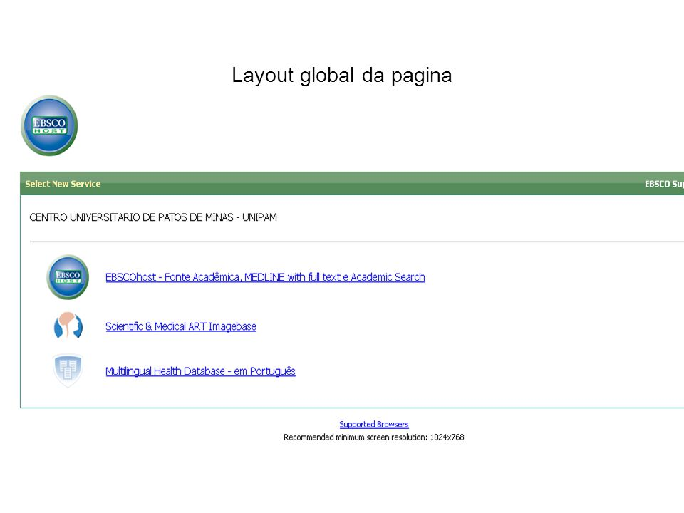 Layout global da pagina