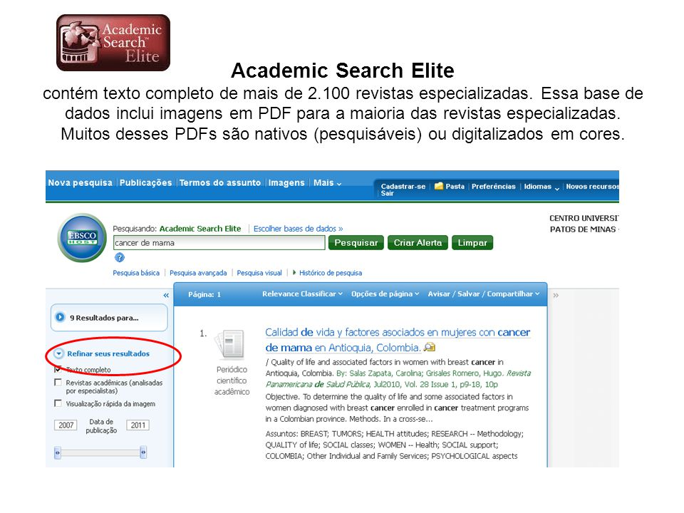 Academic Search Elite contém texto completo de mais de 2
