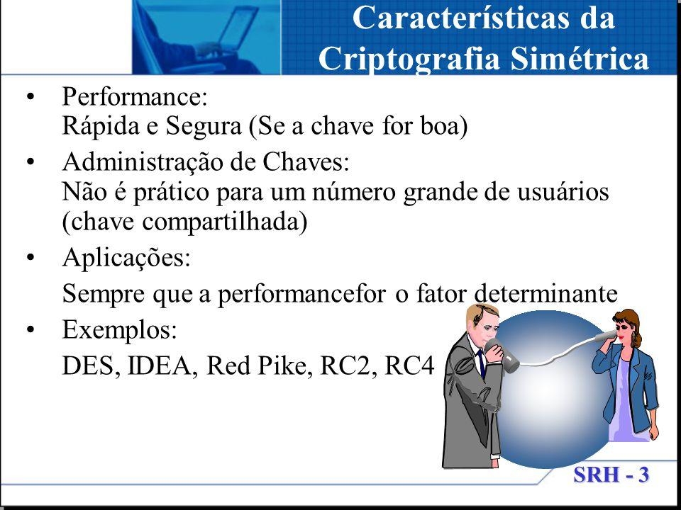 Características da Criptografia Simétrica