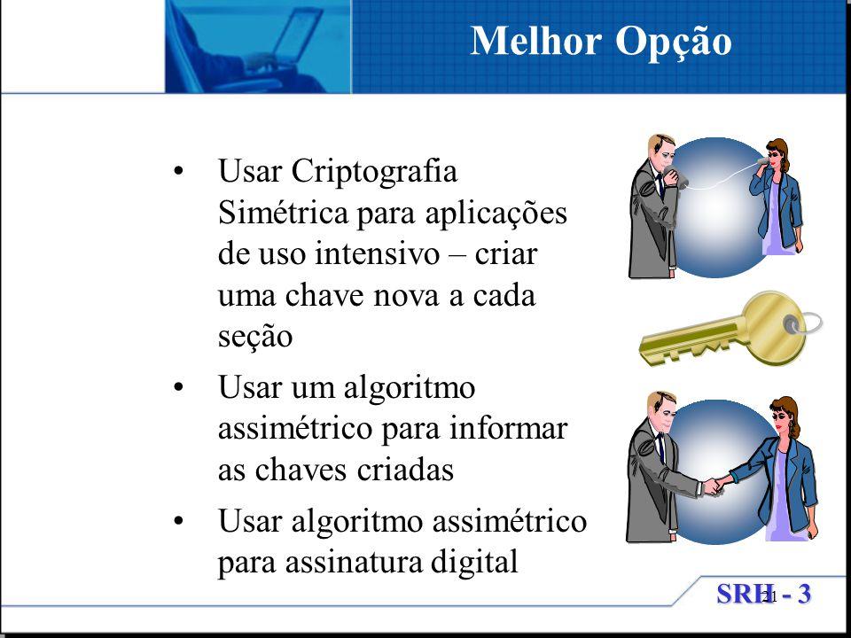 Melhor Opção Usar Criptografia Simétrica para aplicações de uso intensivo – criar uma chave nova a cada seção.