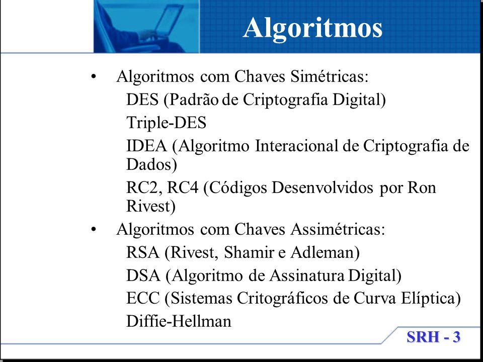 Algoritmos Algoritmos com Chaves Simétricas: