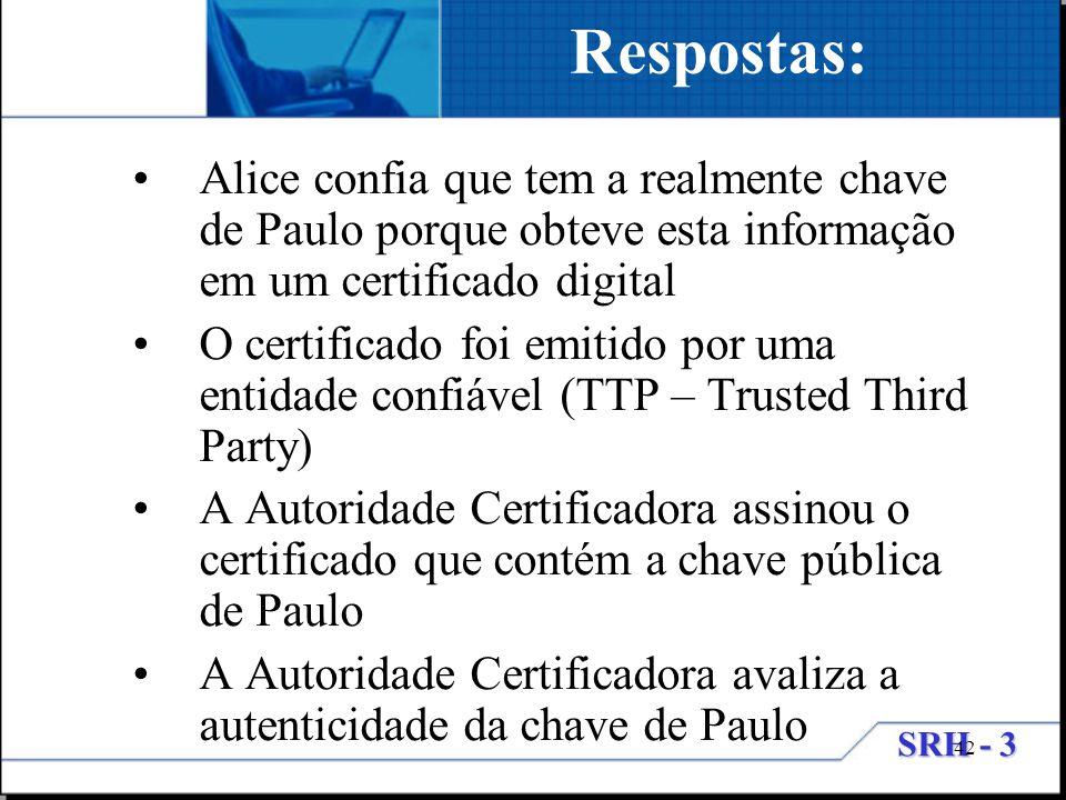 Respostas: Alice confia que tem a realmente chave de Paulo porque obteve esta informação em um certificado digital.