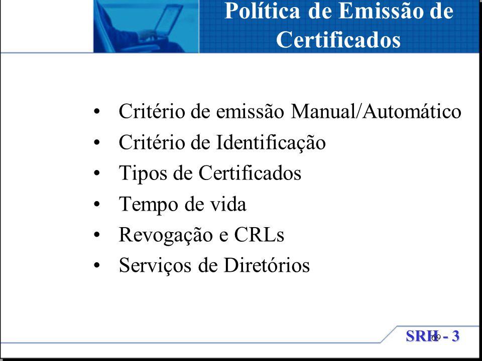 Política de Emissão de Certificados
