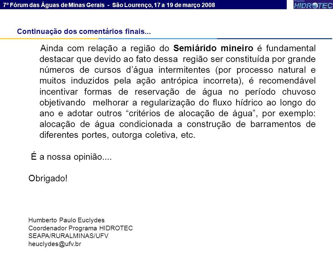 7º Fórum das Águas de Minas Gerais - São Lourenço, 17 a 19 de março 2008