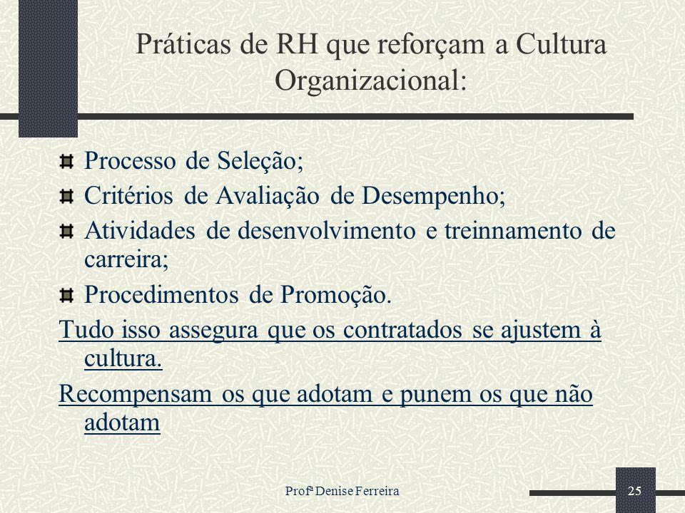Práticas de RH que reforçam a Cultura Organizacional: