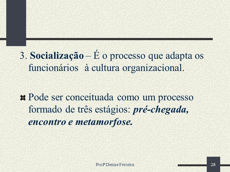 3. Socialização – É o processo que adapta os funcionários à cultura organizacional.
