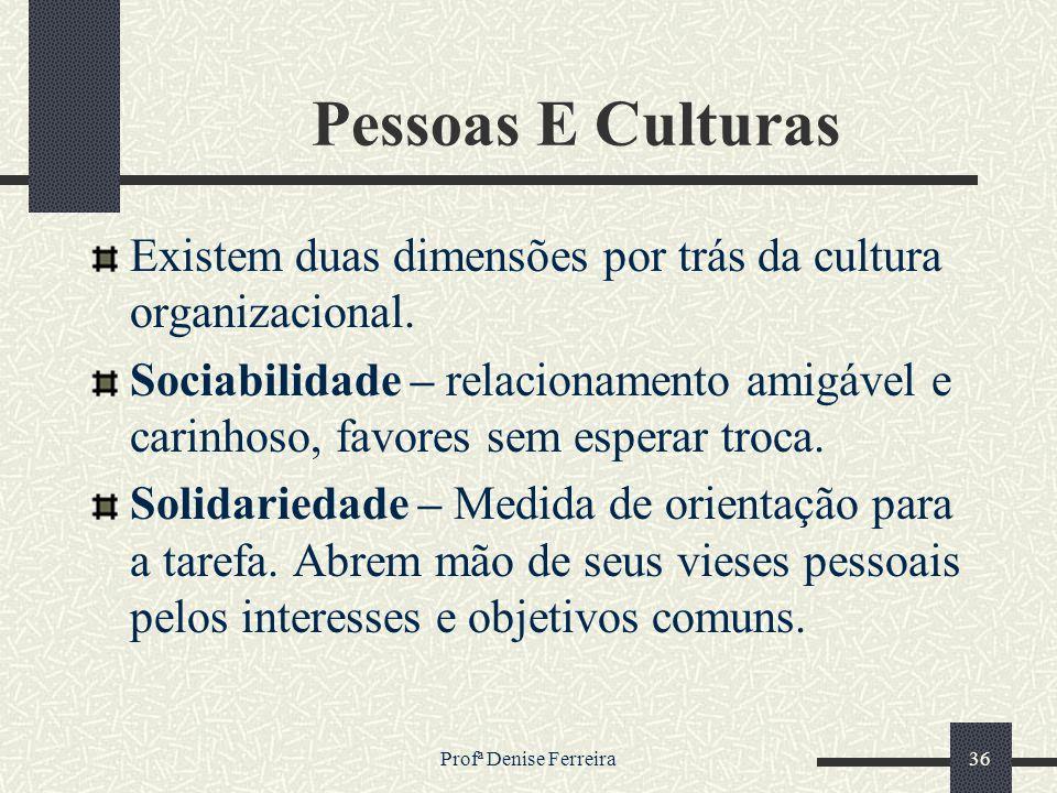 Pessoas E Culturas Existem duas dimensões por trás da cultura organizacional.