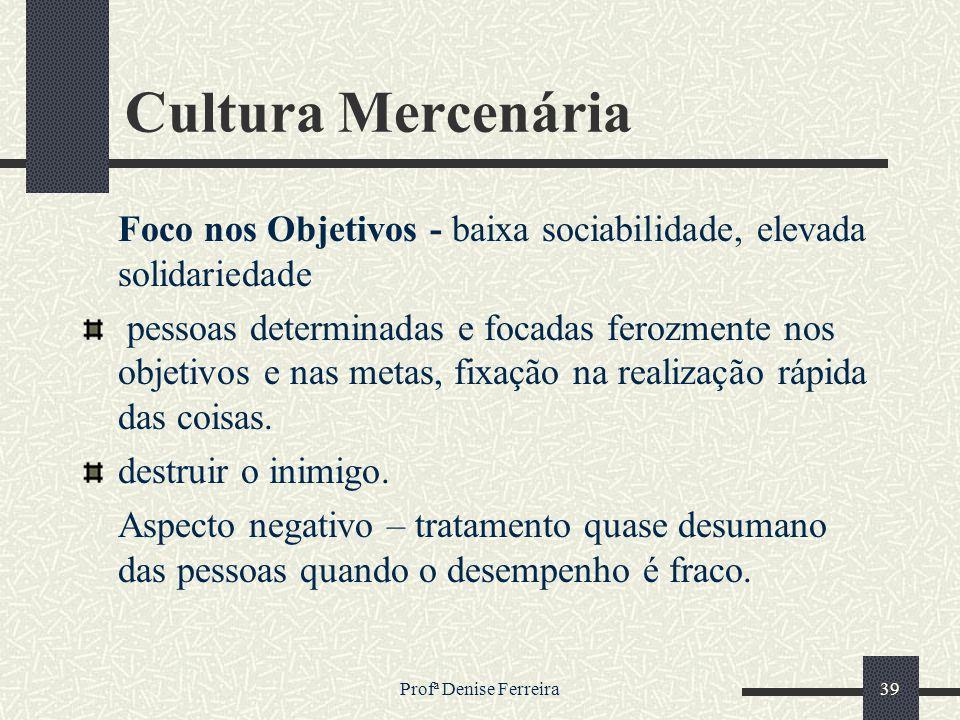 Cultura Mercenária Foco nos Objetivos - baixa sociabilidade, elevada solidariedade.
