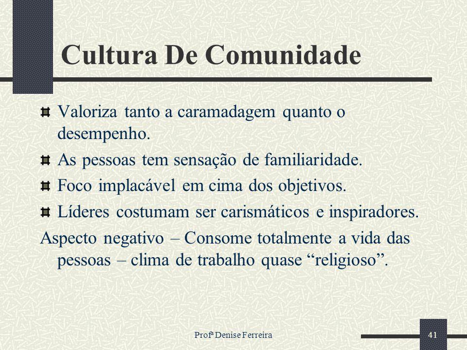 Cultura De Comunidade Valoriza tanto a caramadagem quanto o desempenho. As pessoas tem sensação de familiaridade.