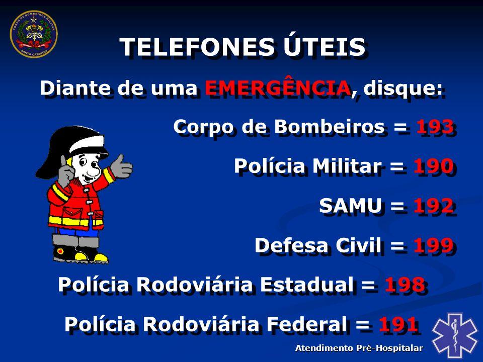 TELEFONES ÚTEIS Diante de uma EMERGÊNCIA, disque: