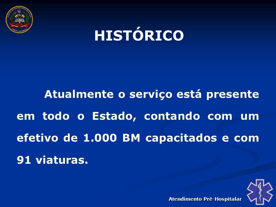 HISTÓRICO Atualmente o serviço está presente em todo o Estado, contando com um efetivo de 1.000 BM capacitados e com 91 viaturas.