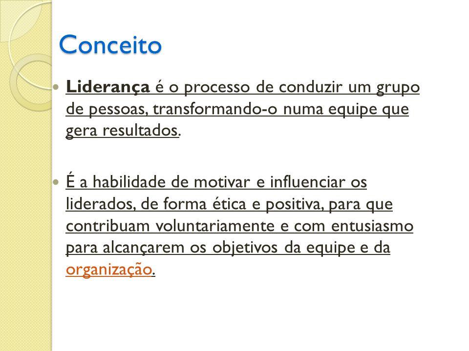 Conceito Liderança é o processo de conduzir um grupo de pessoas, transformando-o numa equipe que gera resultados.