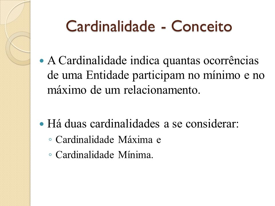 Cardinalidade - Conceito