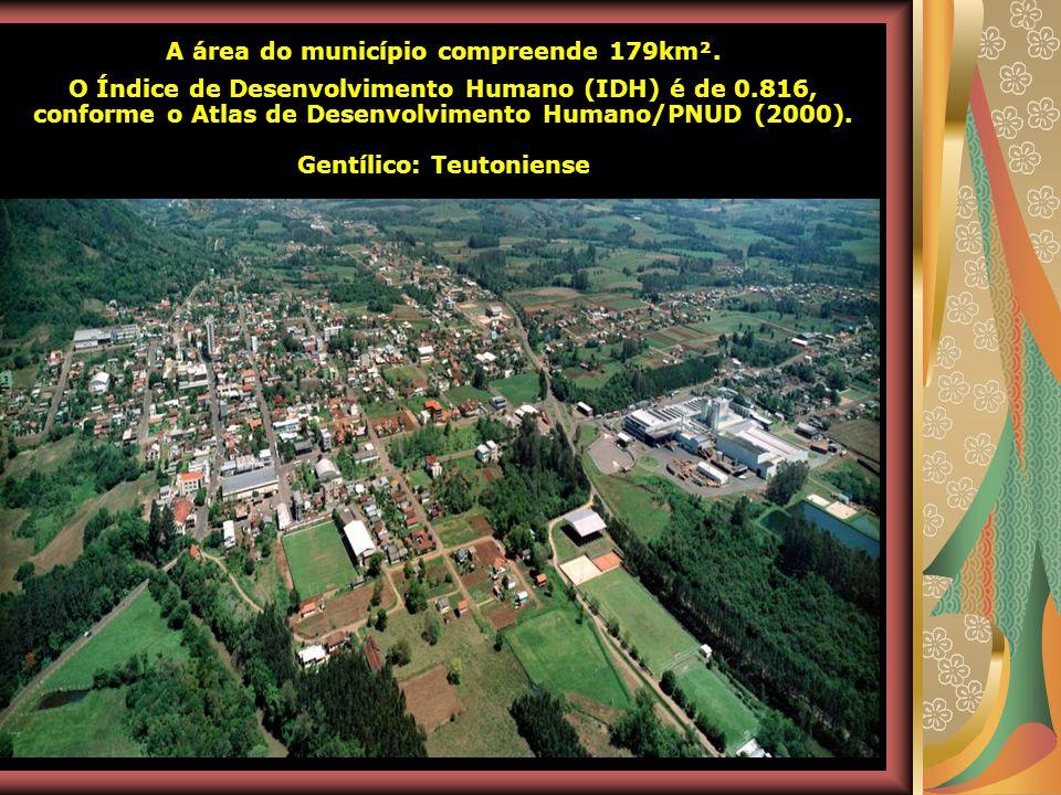 A área do município compreende 179km². Gentílico: Teutoniense
