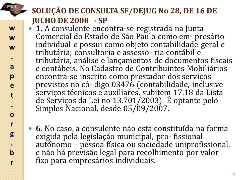 SOLUÇÃO DE CONSULTA SF/DEJUG No 28, DE 16 DE JULHO DE 2008 - SP