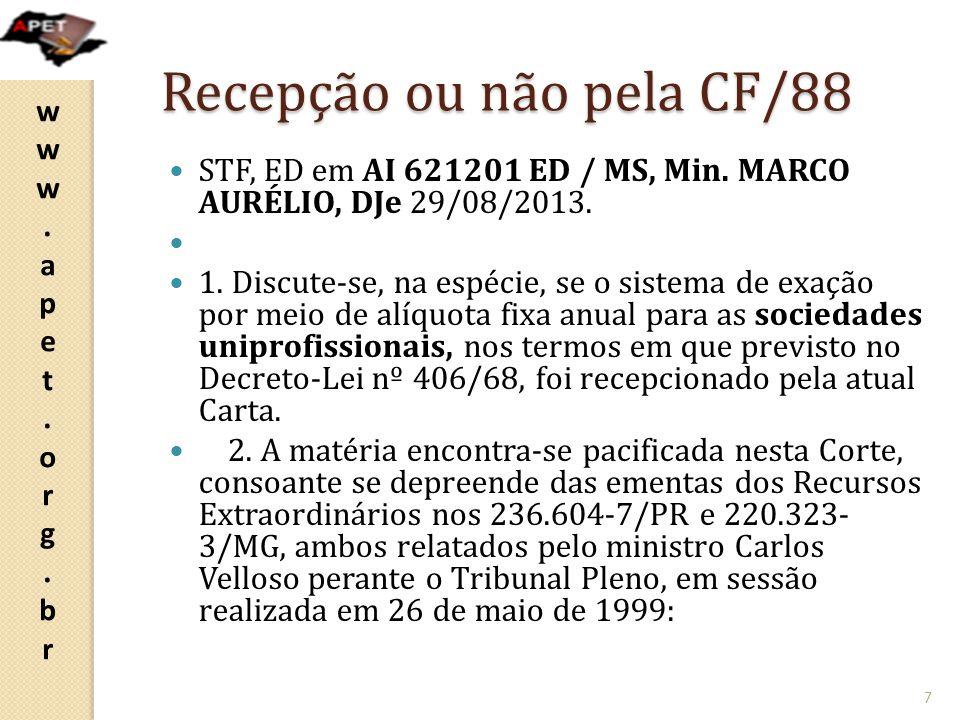 Recepção ou não pela CF/88