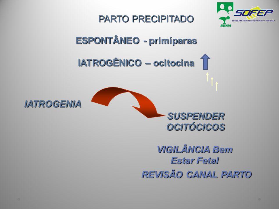 ESPONTÂNEO - primíparas IATROGÊNICO – ocitocina PARTO PRECIPITADO