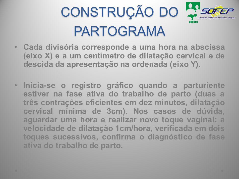 CONSTRUÇÃO DO PARTOGRAMA