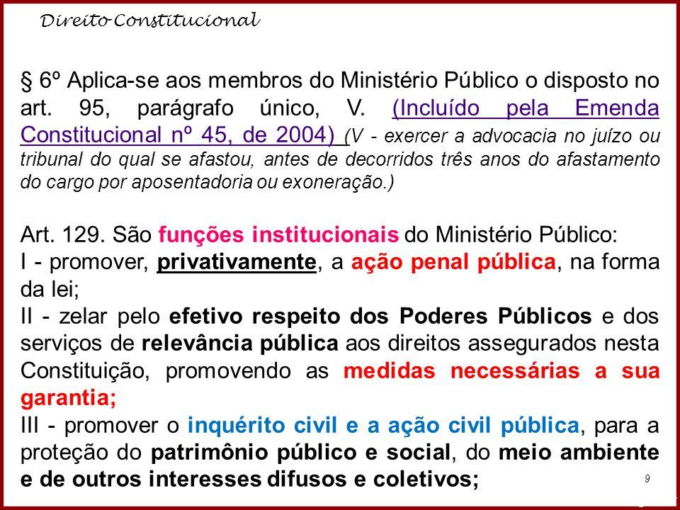 Art. 129. São funções institucionais do Ministério Público: