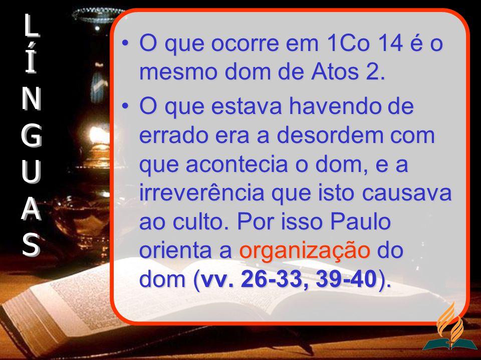 O que ocorre em 1Co 14 é o mesmo dom de Atos 2.