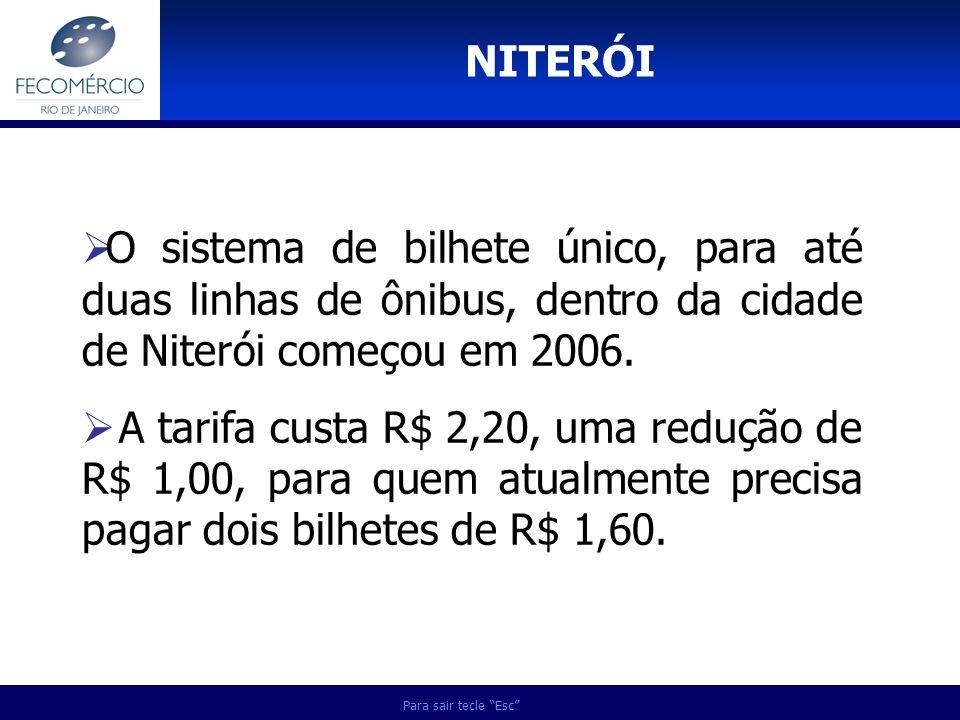 NITERÓI O sistema de bilhete único, para até duas linhas de ônibus, dentro da cidade de Niterói começou em 2006.