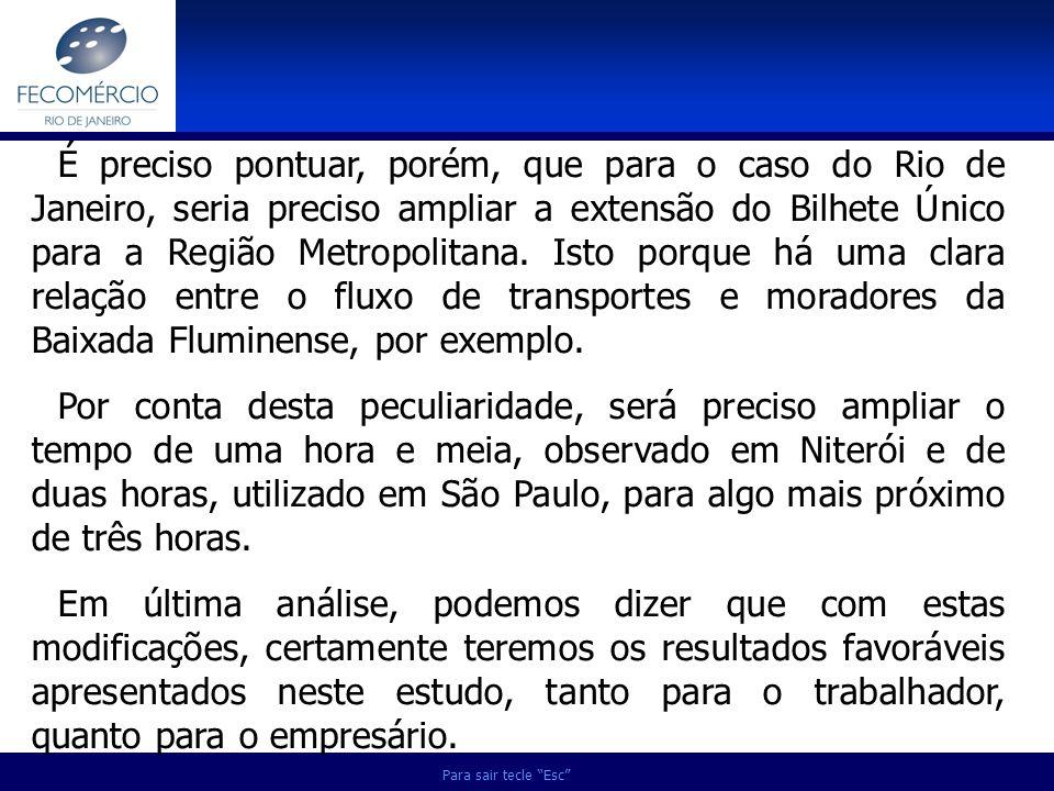 É preciso pontuar, porém, que para o caso do Rio de Janeiro, seria preciso ampliar a extensão do Bilhete Único para a Região Metropolitana. Isto porque há uma clara relação entre o fluxo de transportes e moradores da Baixada Fluminense, por exemplo.