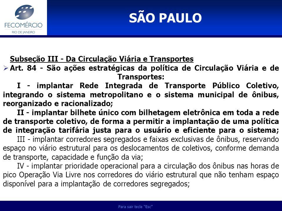 SÃO PAULO Subseção III - Da Circulação Viária e Transportes