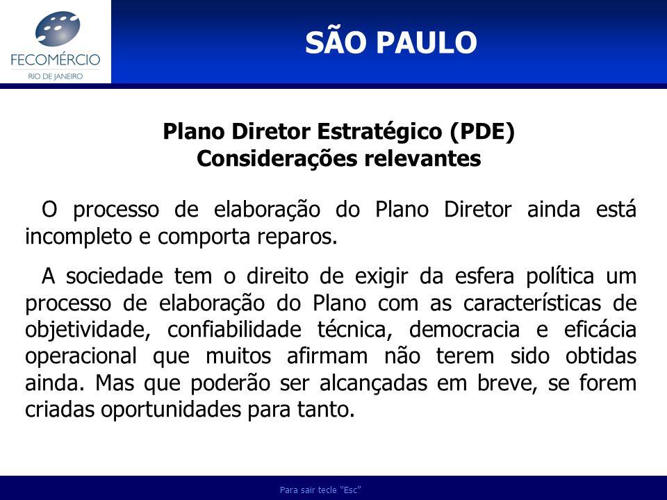 Plano Diretor Estratégico (PDE) Considerações relevantes