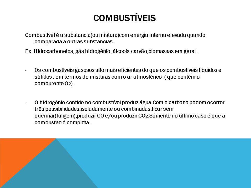 Combustíveis Combustível é a substancia(ou mistura)com energia interna elevada quando comparada a outras substancias.