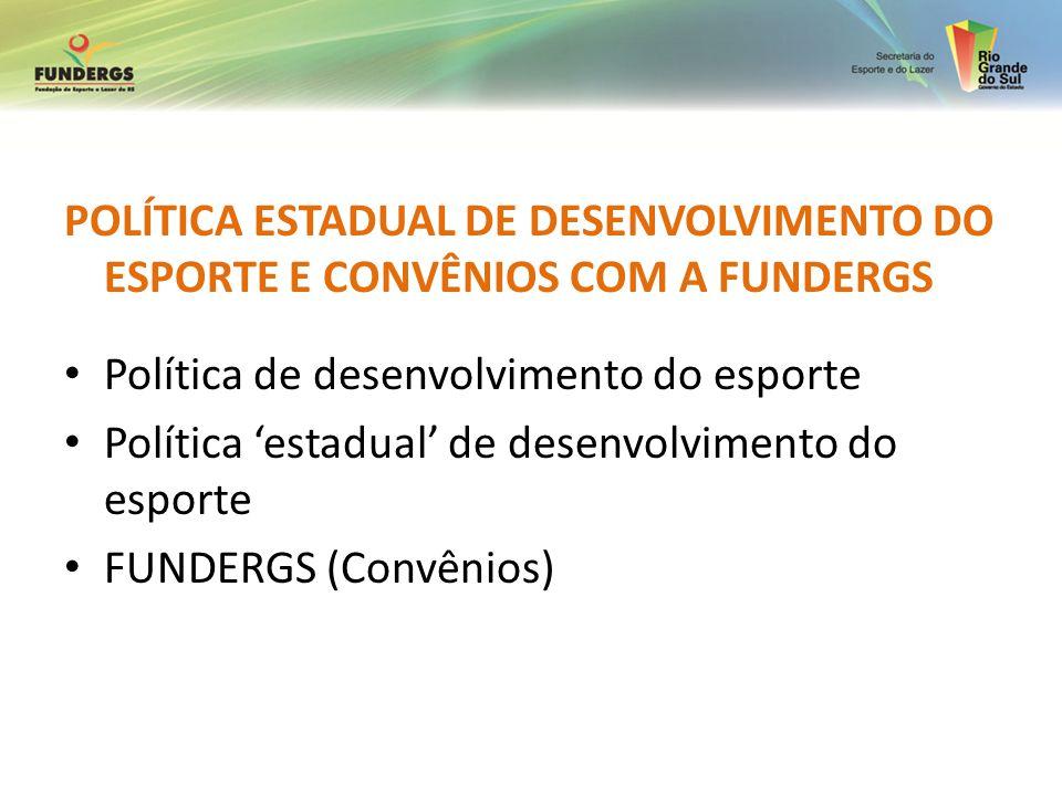 POLÍTICA ESTADUAL DE DESENVOLVIMENTO DO ESPORTE E CONVÊNIOS COM A FUNDERGS