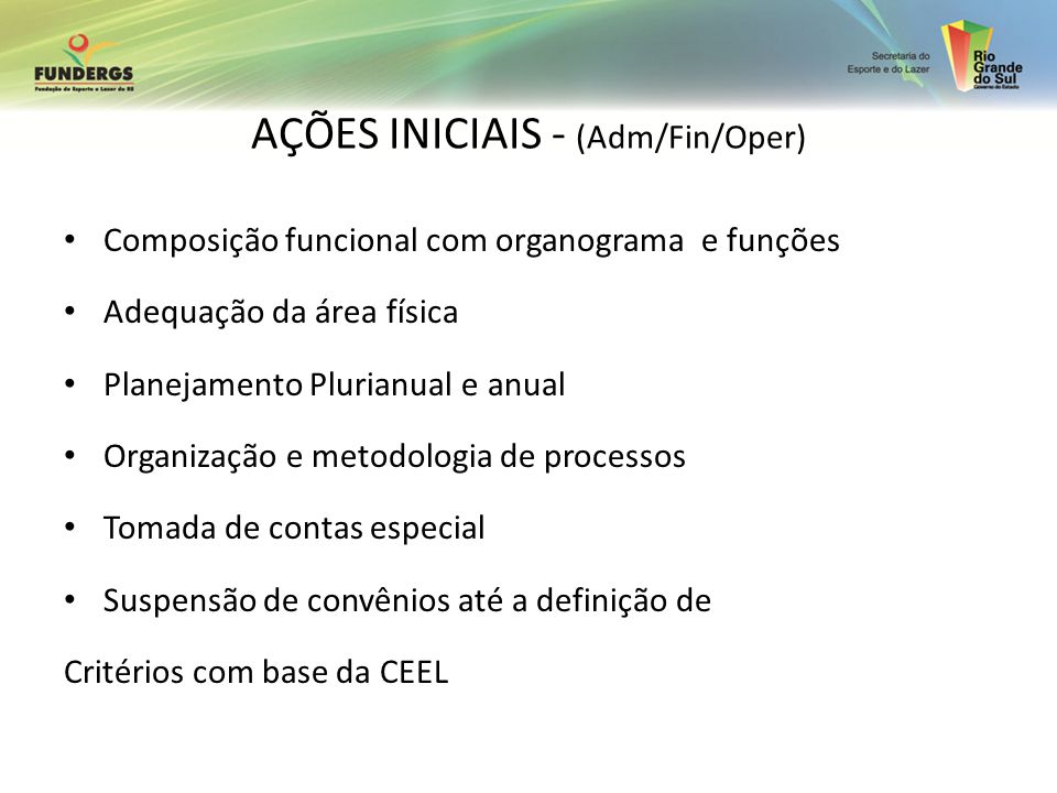 AÇÕES INICIAIS - (Adm/Fin/Oper)