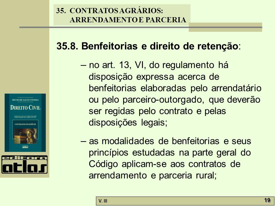 35.8. Benfeitorias e direito de retenção: