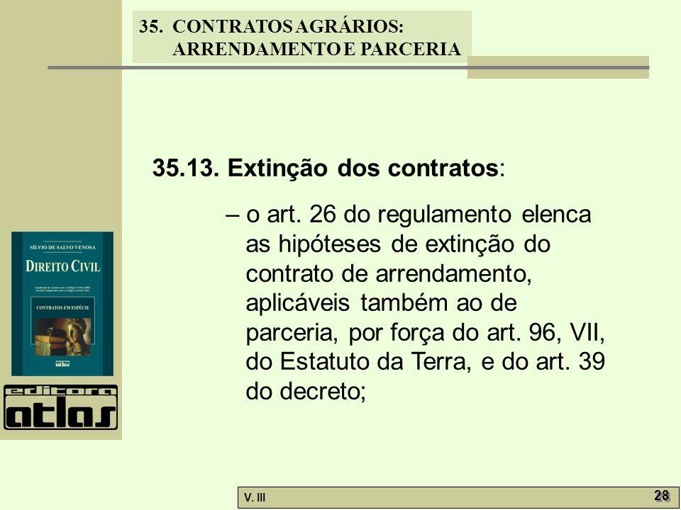 35.13. Extinção dos contratos: