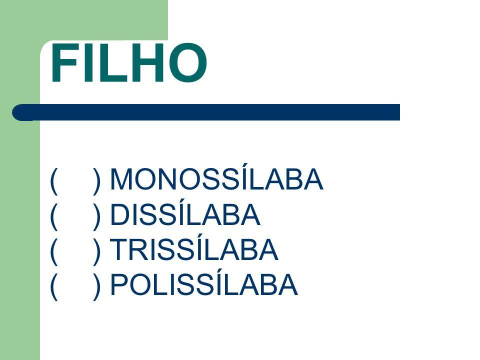 FILHO ( ) MONOSSÍLABA ( ) DISSÍLABA ( ) TRISSÍLABA ( ) POLISSÍLABA