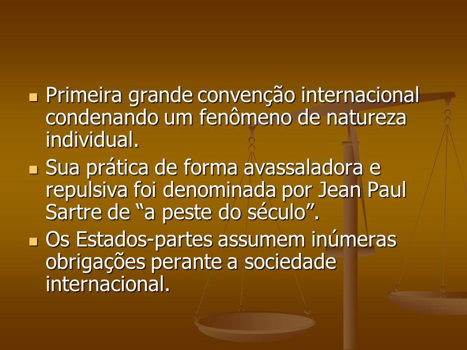 Primeira grande convenção internacional condenando um fenômeno de natureza individual.