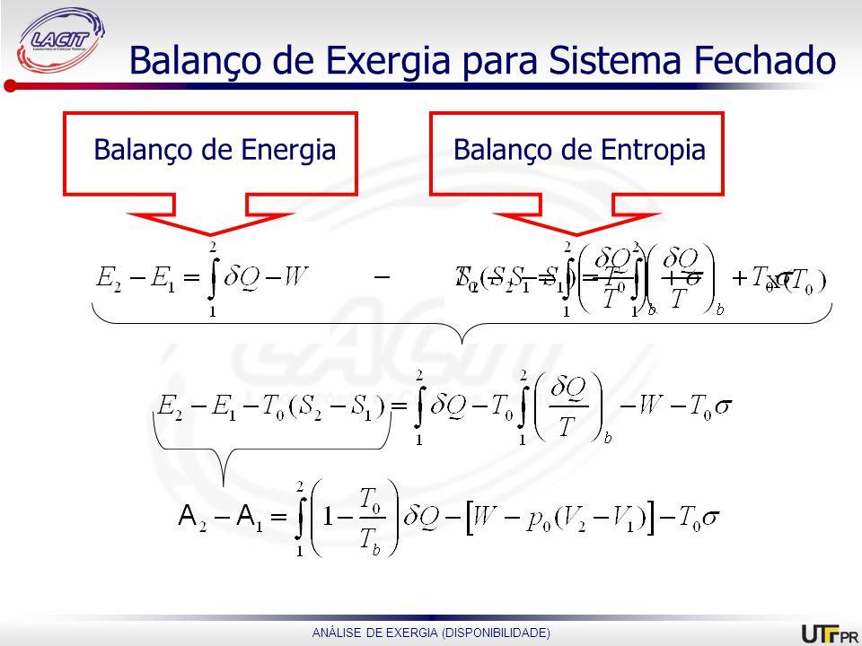 Balanço de Exergia para Sistema Fechado
