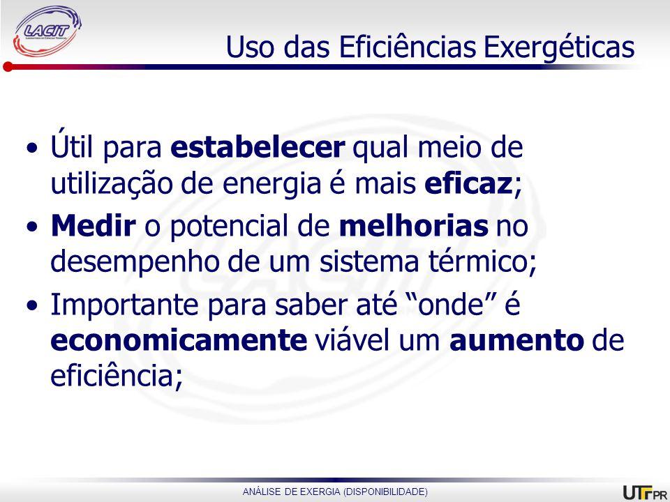 Uso das Eficiências Exergéticas