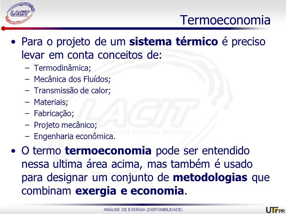 Termoeconomia Para o projeto de um sistema térmico é preciso levar em conta conceitos de: Termodinâmica;