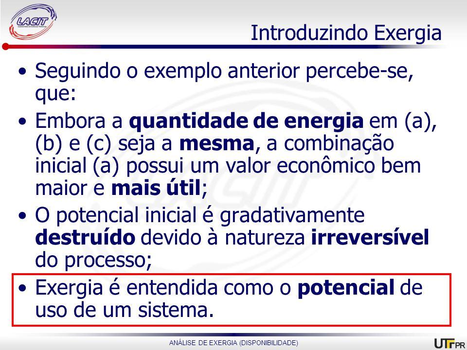 Introduzindo Exergia Seguindo o exemplo anterior percebe-se, que: