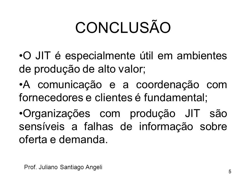 CONCLUSÃO O JIT é especialmente útil em ambientes de produção de alto valor;