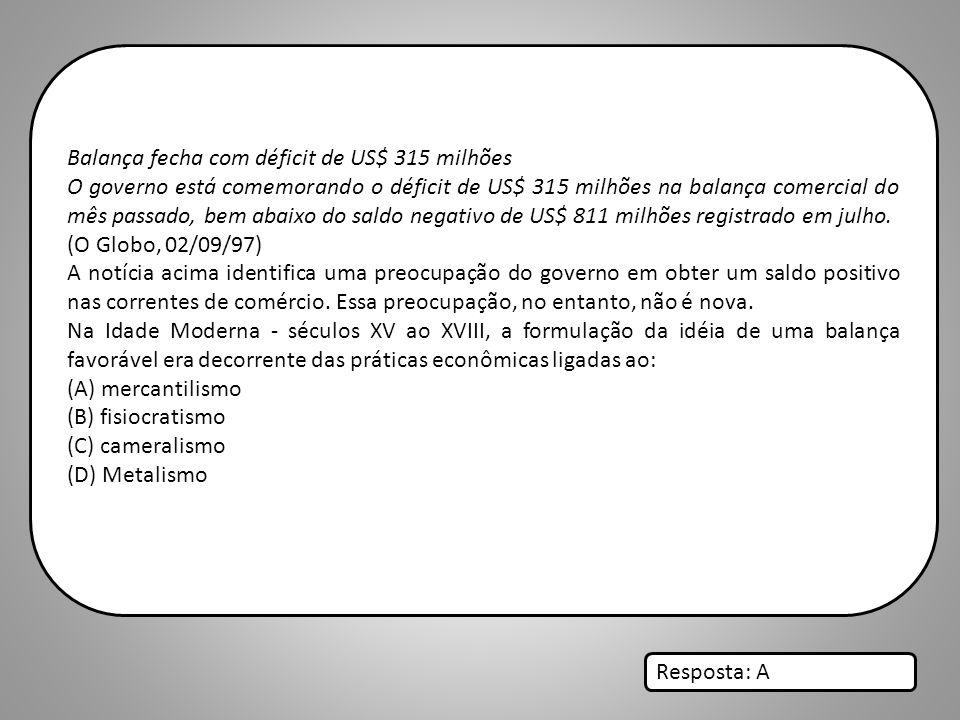 Balança fecha com déficit de US$ 315 milhões