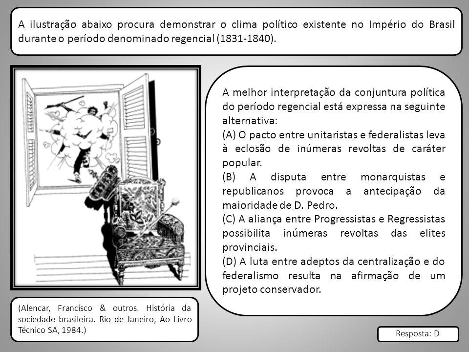A ilustração abaixo procura demonstrar o clima político existente no Império do Brasil durante o período denominado regencial (1831-1840).