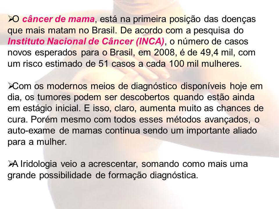O câncer de mama, está na primeira posição das doenças que mais matam no Brasil. De acordo com a pesquisa do Instituto Nacional de Câncer (INCA), o número de casos novos esperados para o Brasil, em 2008, é de 49,4 mil, com um risco estimado de 51 casos a cada 100 mil mulheres.