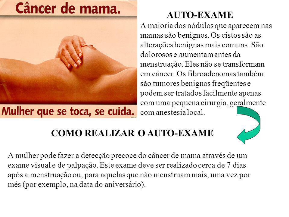AUTO-EXAME A maioria dos nódulos que aparecem nas mamas são benignos