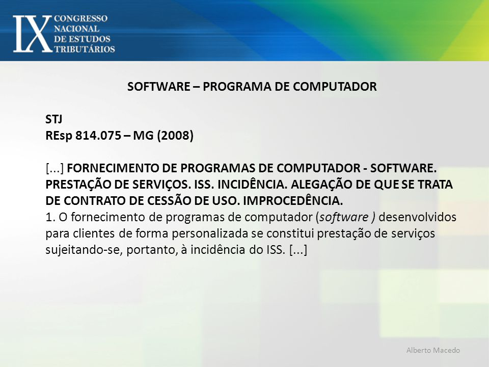 SOFTWARE – PROGRAMA DE COMPUTADOR