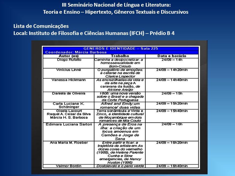 III Seminário Nacional de Língua e Literatura: